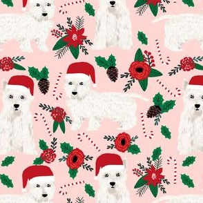 westie poinsettia fabric cute west highland terriers dogs fabric cute pink christmas fabric