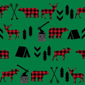 buffalo plaid woodland moose deer bear forest woodland trees camping canada kids red and green plaid