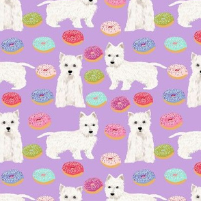 westie donuts fabric cute west highland terrier doughnuts fabric cute purple pastels donuts fabric