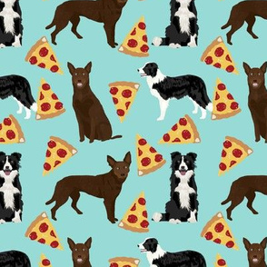 australian kelpie and border collies pizza fabric cute dogs fabric cute pizzas fabrics australian kelpies cute dogs