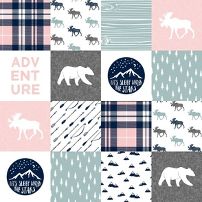 Happy Camper wholecloth w/fall plaid    (dusty blue and rose)