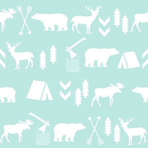 bright mint woodland camping fabric cute girls mint sweet girls fabrics cute girls nursery baby