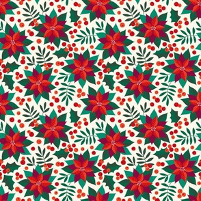 Poinsettia christmas red on creme (small)