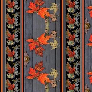 Autumn Maple Leaves on Gray Wood - Border