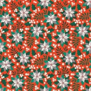 Poinsettia christmas white on orange