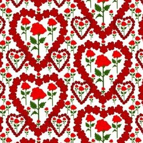 Valentines Hearts Red Roses and Hearts Fabric