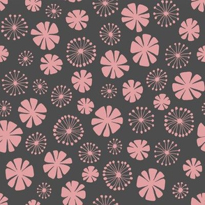 pale pink flowers on gray - small scale