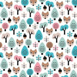 Sweet woodland fox fall winter forest with acorns and trees boys mint pink girls