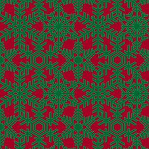 Snowflakes Web Green Red