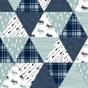 Moose Triangle Wholecloth    moose (navy)