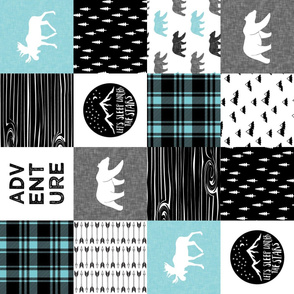the happy camper in teal & black (90) || wholecloth quilt top