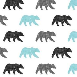 multi bear (small scale)    grey & teal