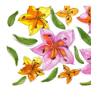 Pink & Yellow Lilies