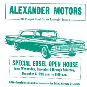 1959 Edsel ad from Alexander Motors in bright green