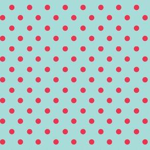 Blue with Red Dots