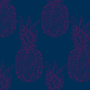 large pineapple red on blue