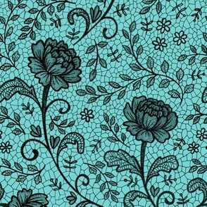 Lace full pattern - Black on Turquoise