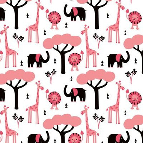 Quirky african zoo animals giraffe elephant and lion safari kids beige girls pink SMALL