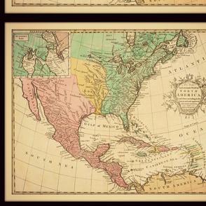 North American map, vintage, FQ