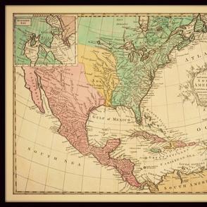 North America map, vintage, large