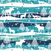 Winter Landscape Fox, Wolf, Elk, Snow