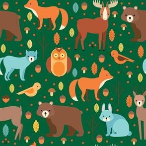 Woodland Forest Animals, Bear, Bunny Rabbit,Fox, Wolf, Birds
