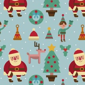 Santa Elf Reindeer Christmas Tree Winter Holiday Snow