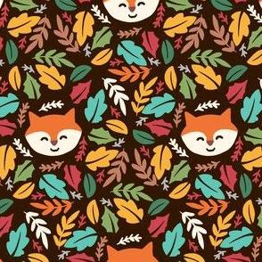 Cute Fall Fox Leaves Acorns