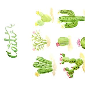 Watercolor Cacti Tea Towel