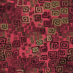 square spirals-red, gold and black