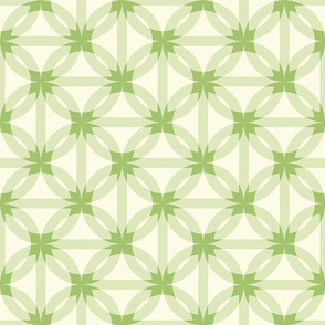 dissected circles -grass green and ivory