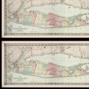 Long Island NY map, vintage, small