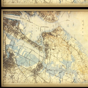 Staten Island NY map, vintage, small