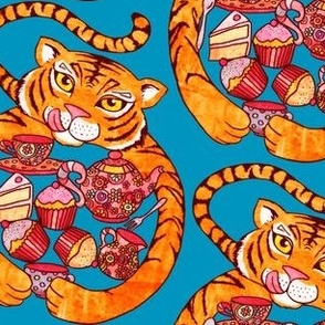 Tiger's Tea Party on Teal