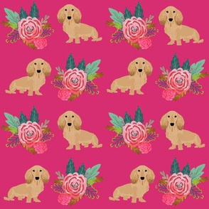 doxie dog cute dachshunds florals floral wreath cute dogs dog fabric cute dogs magenta pink dogs