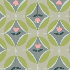 mod tulip -  pink, green, gray