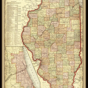 Illinois map, vintage, small
