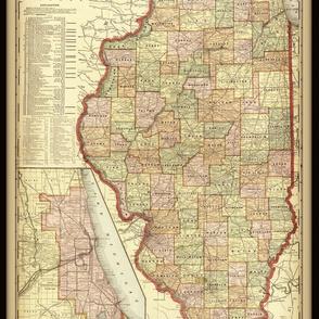 Illinois map, vintage, small