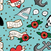 could you not? -- funny tattoo flash on turquoise