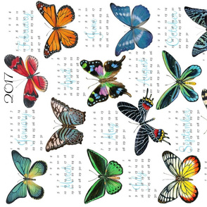 Butterfly Tea Towel Calendar 2017