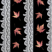 Leaves & Lace - Rosy Maples on Black
