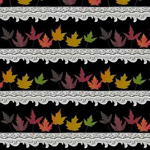 Rainbow Leaves and Lace - Border print