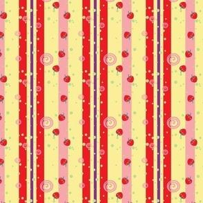 Bright Strawberry Swirl Stripes Pattern - Small