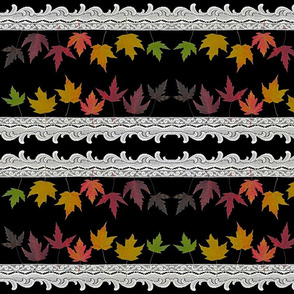 Rainbow Maple Leaves and Lace - Mirrored