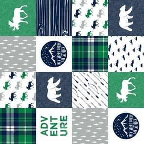 the happy camper wholecloth (90) || green,navy, grey