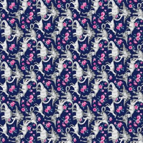 Extra Super Tiny Dinosaurs and Roses on Dark Blue Purple