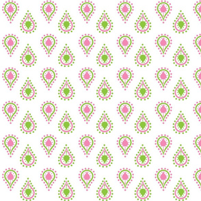 paisley raindrops  SMALL -preppy pink
