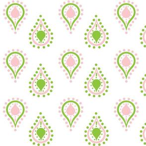 paisley raindrops -preppy petal pink