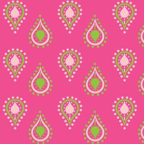 paisley raindrops -pink crush