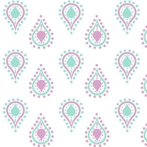 paisley raindrops - lavender mint